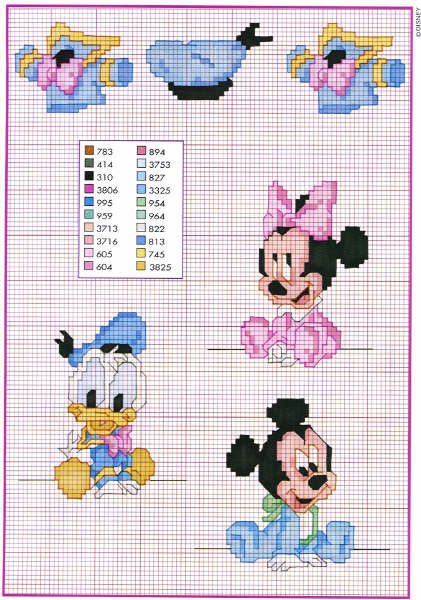 Disney b b donald duck mickey e minni mouse toutes les - Grille gratuite point de croix disney ...
